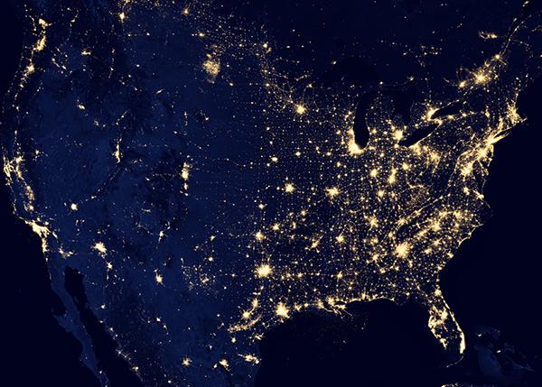 U.S. map showing city lights