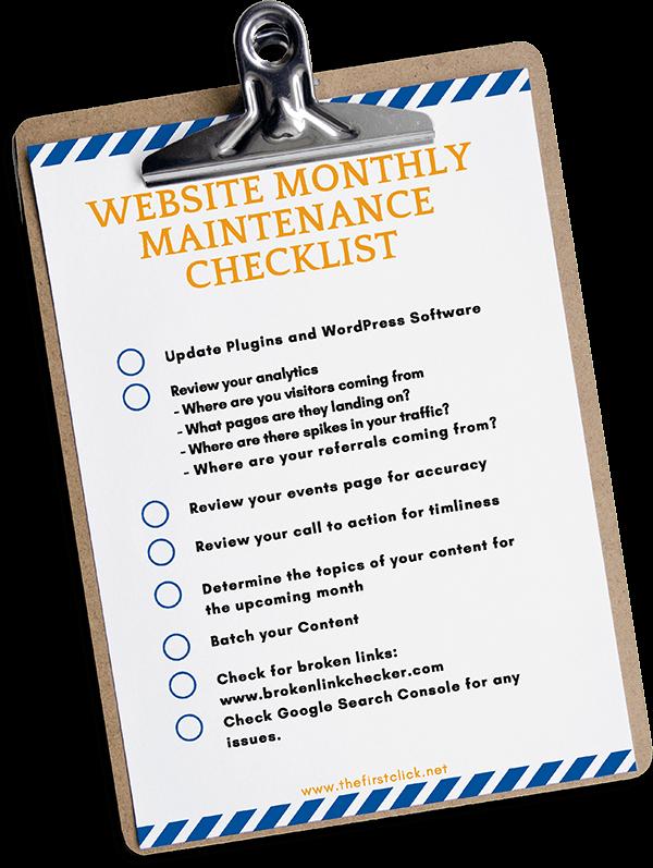 download website monthly maintenance cheklist